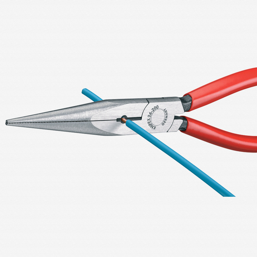 "Knipex 26-11-200 8"" Snipe Nose Side Cutting Pliers (Stork Beak Pliers) - Plastic Grip - KC Tool"