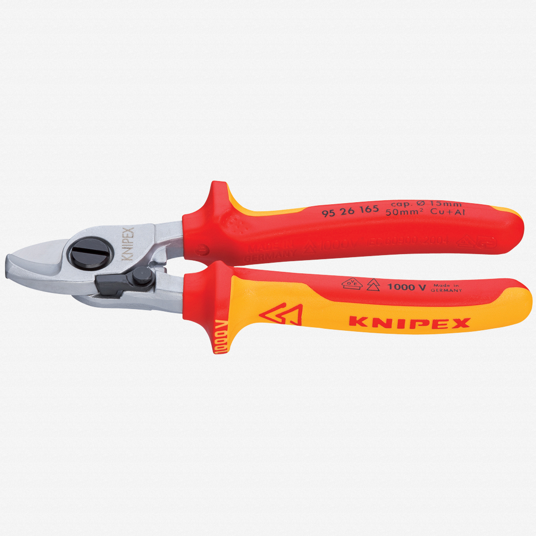 """Knipex 95-26-165 6.5"""" Cable Shears with Opening Spring - Insulated, Chrome - KC Tool"""