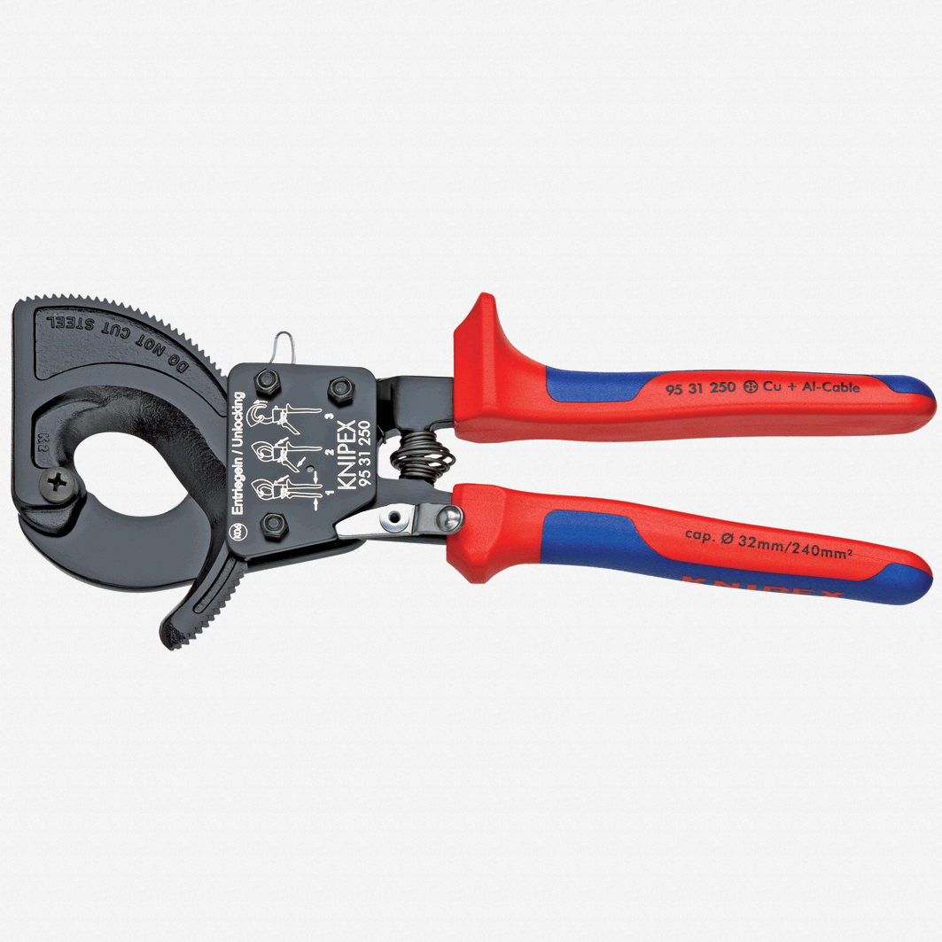 Knipex 95-31-250 Cable Cutters (ratchet action) - MultiGrip - KC Tool