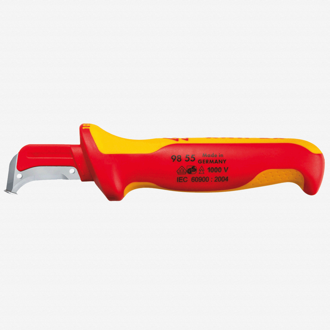 Knipex 98-55 Insulated Dismantling Knife - Sickle Shaped Blade - KC Tool