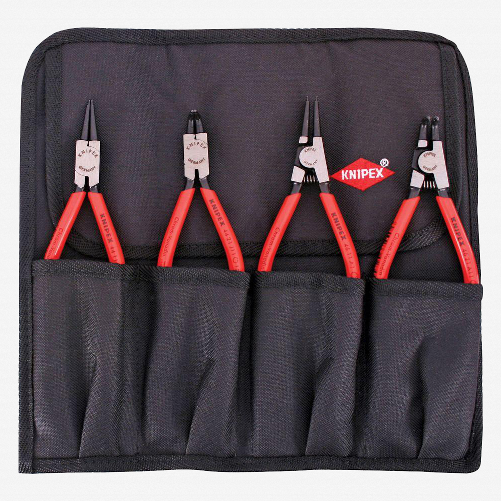 Knipex 9K-00-19-52-US 4 Piece Circlip Pliers Set in Pouch - Straight and 90 Degree - KC Tool