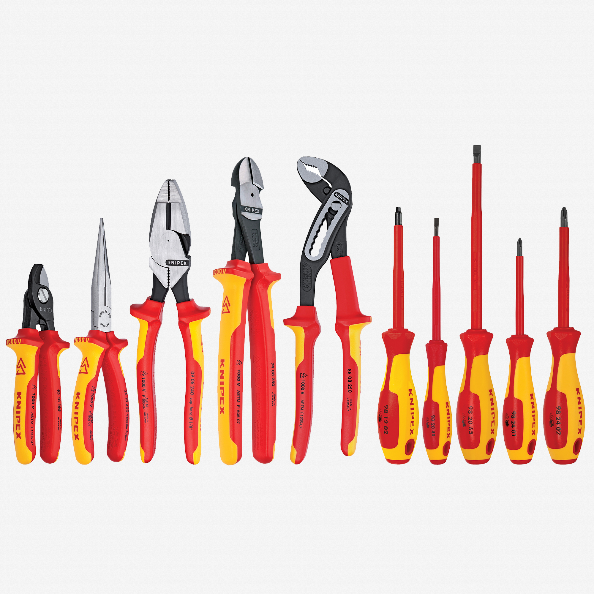 Knipex 9K-98-98-31-US 10 Piece Pliers / Screwdriver Tool Set - 1,000V Insulated, Hard Case, w/Lineman Pliers