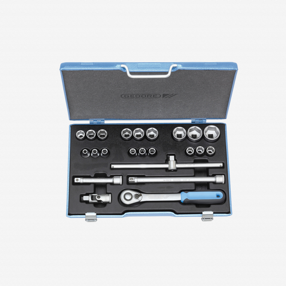 "Gedore 19 EMU-20 Socket set 1/2"", 23 pcs hex 8-32 mm - KC Tool"