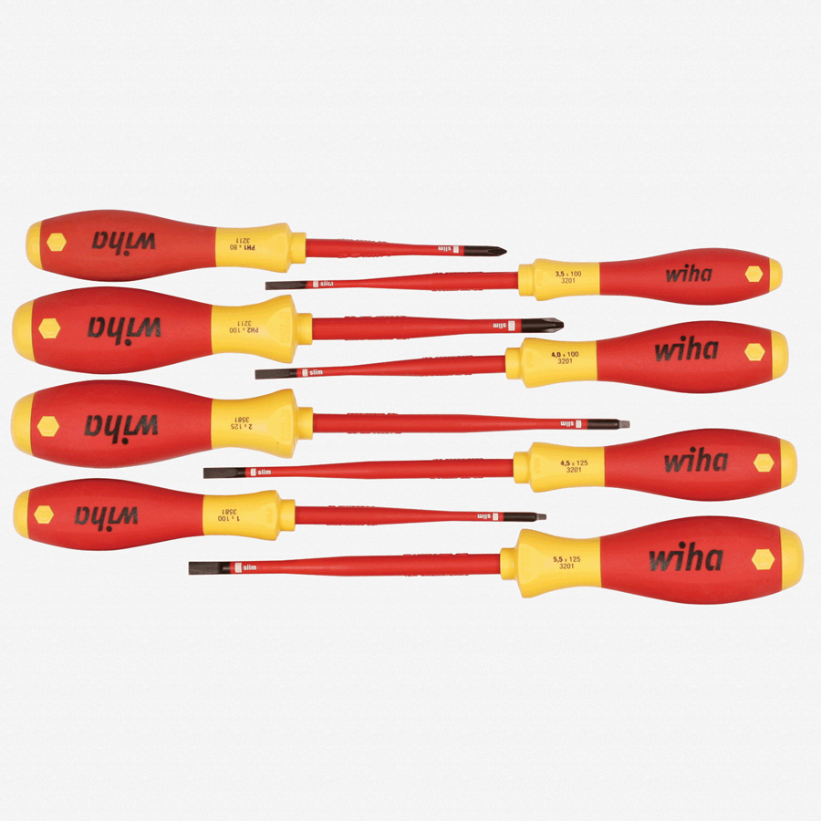 Wiha 32197 8 Piece Insulated Slim Slotted, Phillips and Square Screwdriver Set - KC Tool