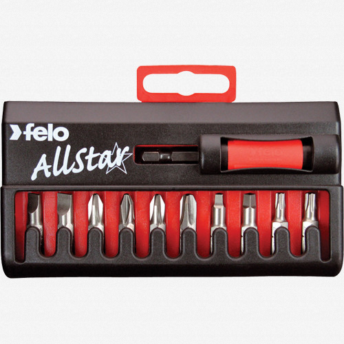 Felo 53015 AllStar 10 piece Universal Bit Set - Slotted, Phillips, Square, Torx - KC Tool