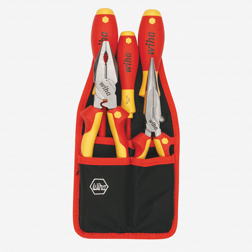 Wiha 32985 Insulated Industrial Pliers//Drivers Set Belt Pack Pouch 7-Piece