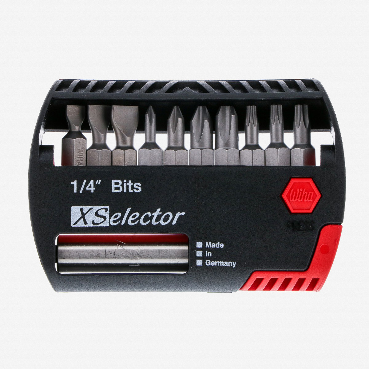 10-Piece WIHA 74988 Slotted Phillips and Square Power Bit Set with Holder