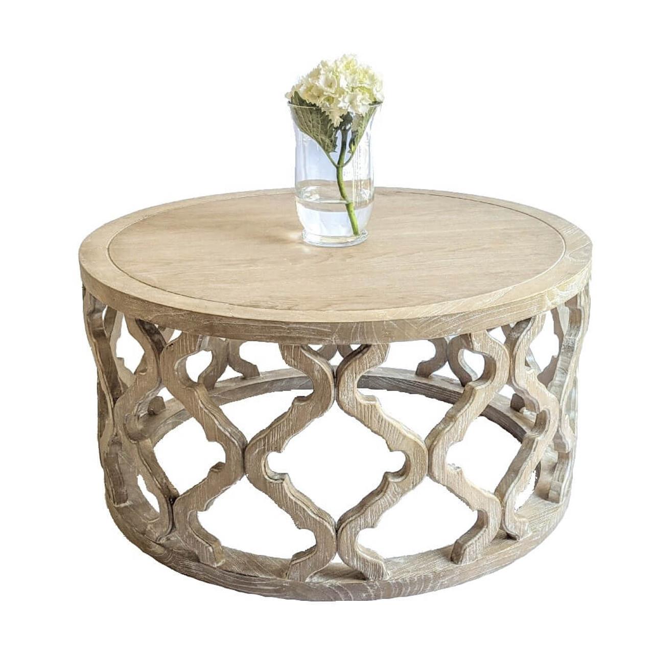 Hamptons Oak Lattice Round Coffee Table