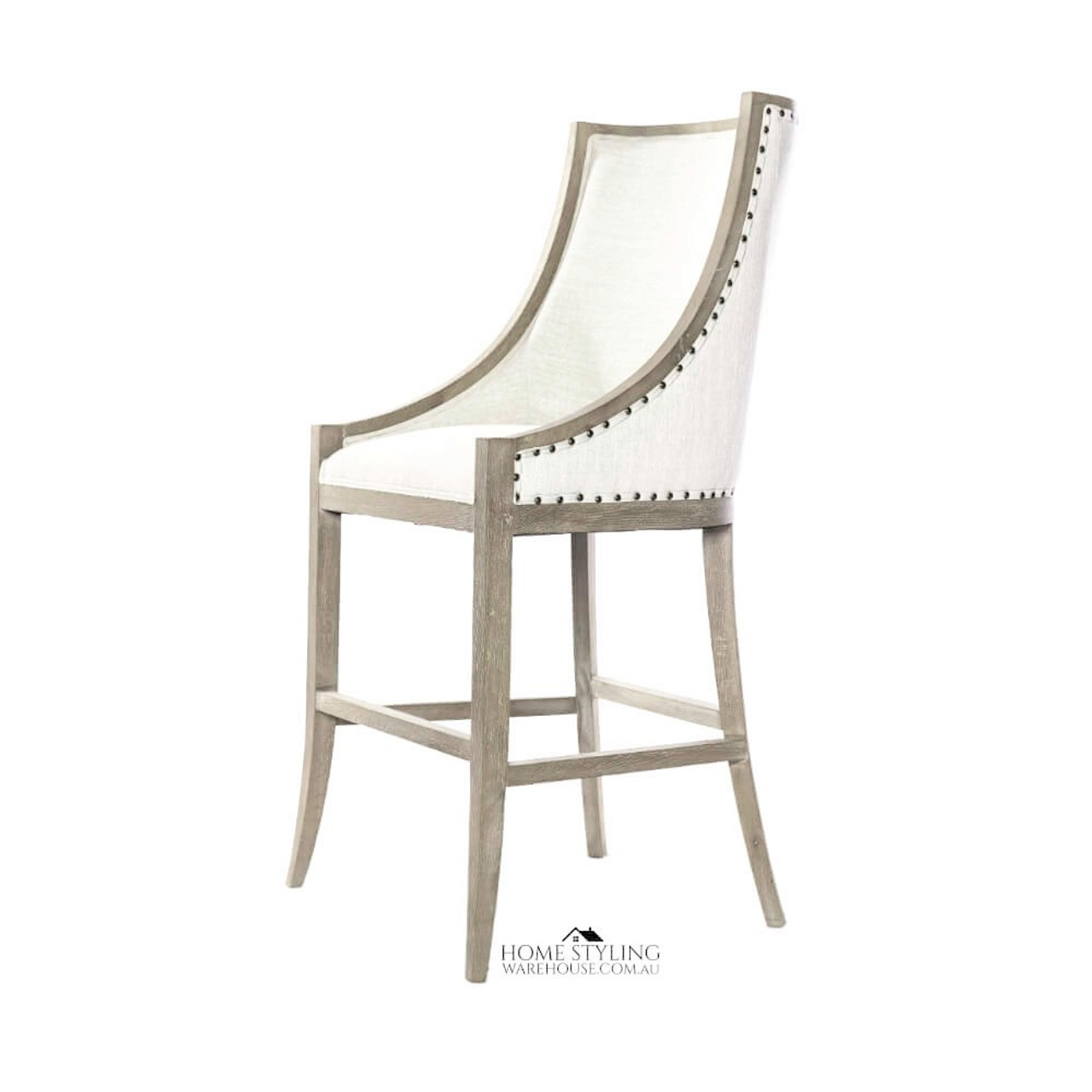 Picture of: Hamptons Oak Studded Sweep Arm Bar Stoo