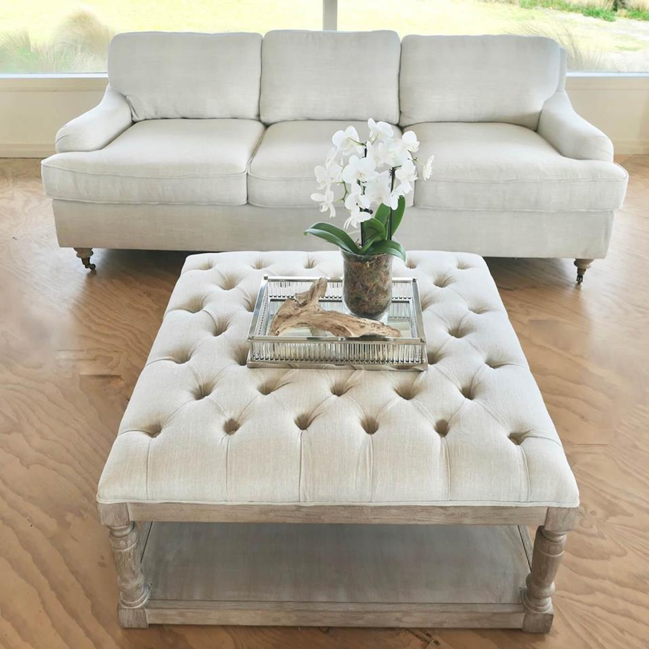 - Hamptons Oak Chesterfield Tufted Coffee Table Ottoman With Shelf