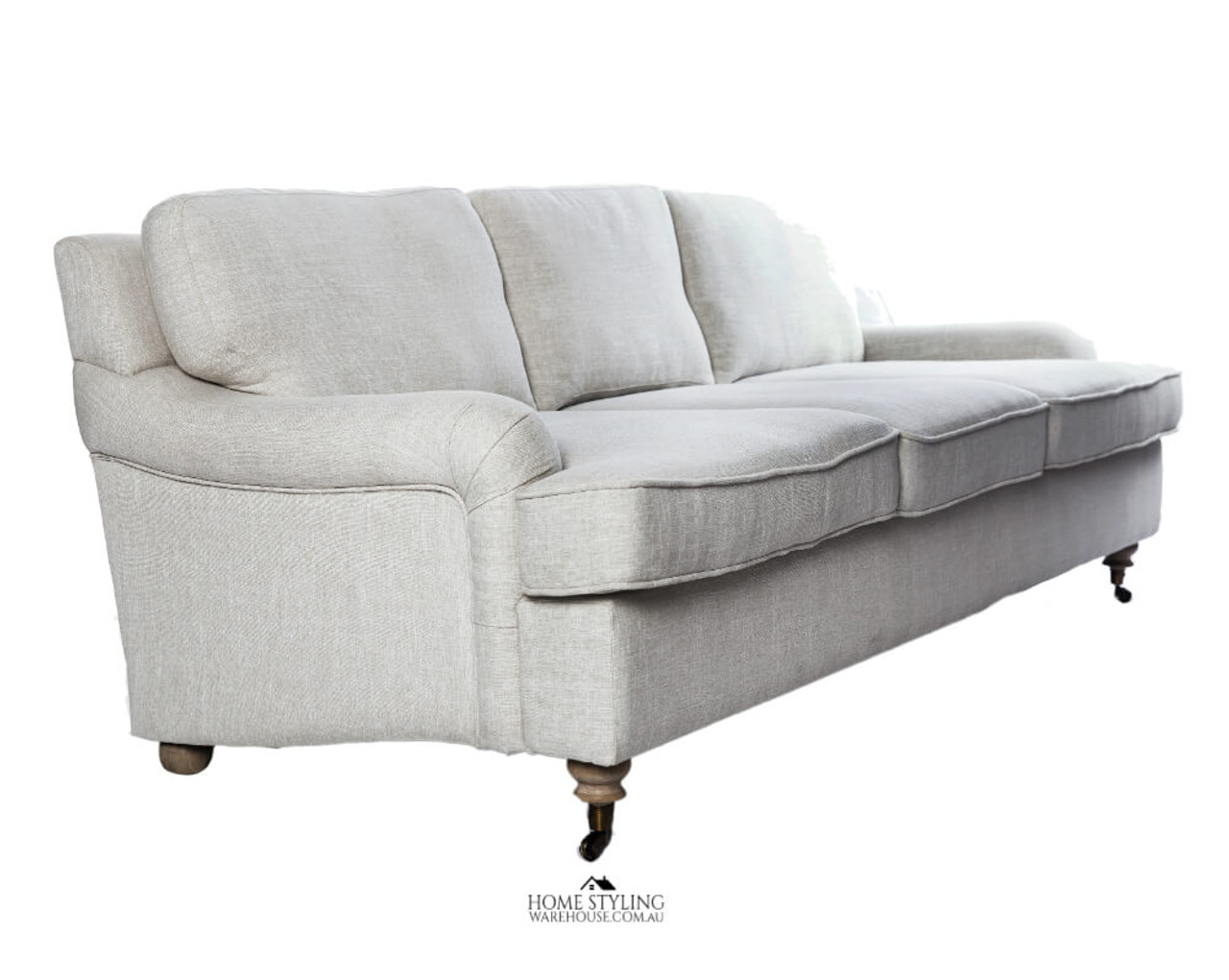 Swell Hamptons Style Sofa Couch Cream 3 Seater Rolled Arms Wheels Standard Oatmeal Color Gamerscity Chair Design For Home Gamerscityorg