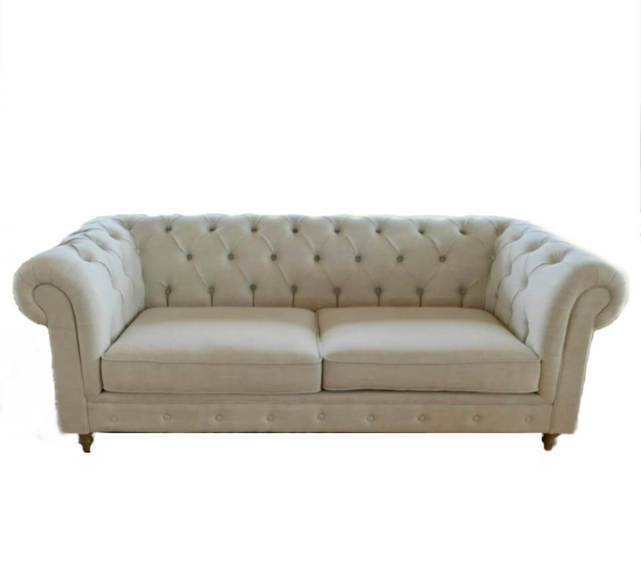 Hamptons Chesterfield Studded Three Seater Linen Sofa