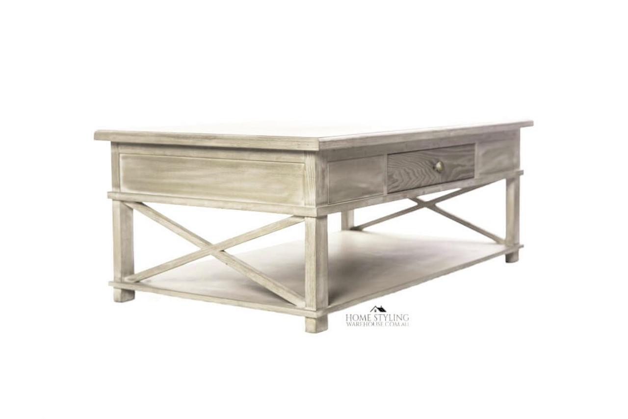 - Hamptons Oak Cross Legs Coffee Table With Drawer