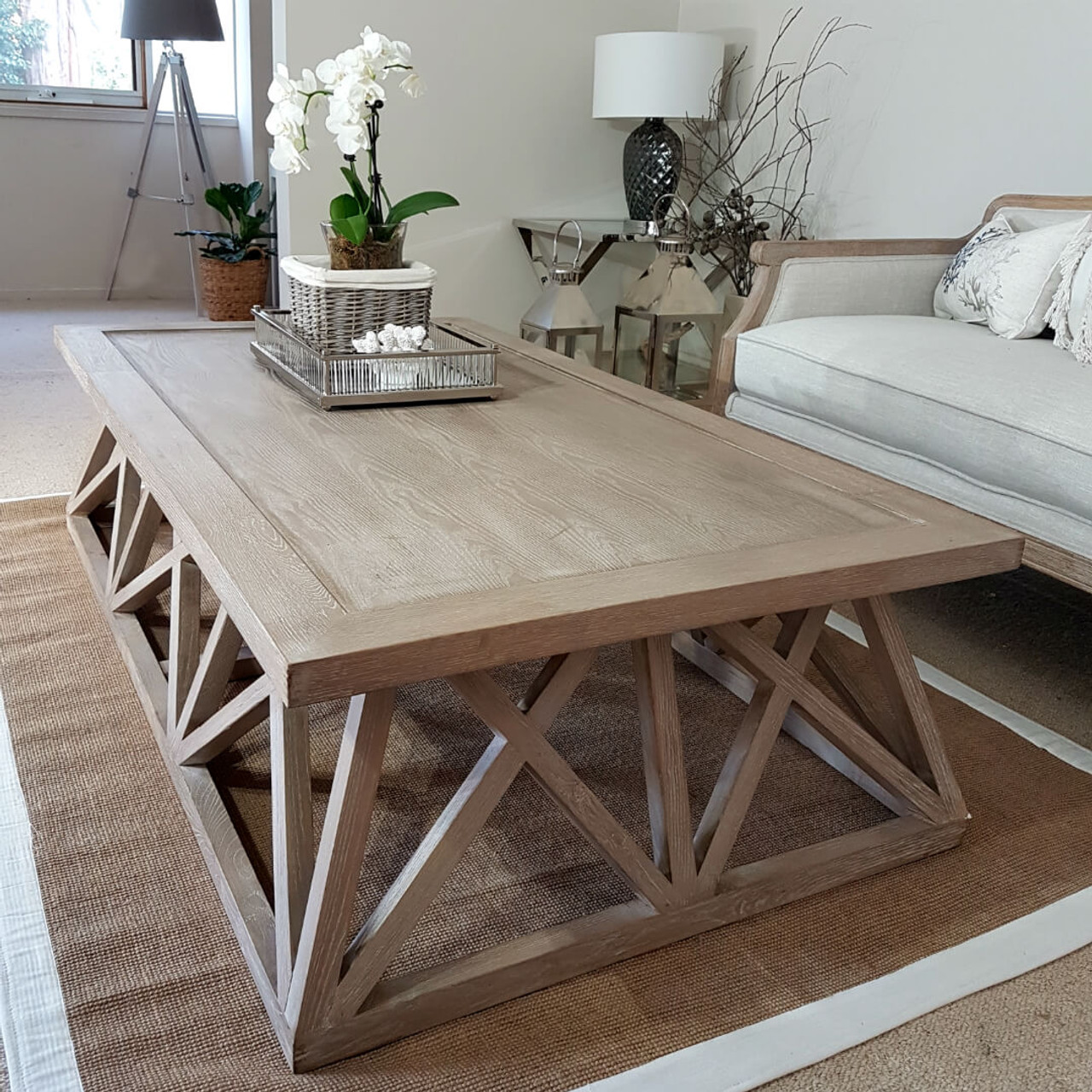 - Hamptons Oak Lattice Rectangular Coffee Table