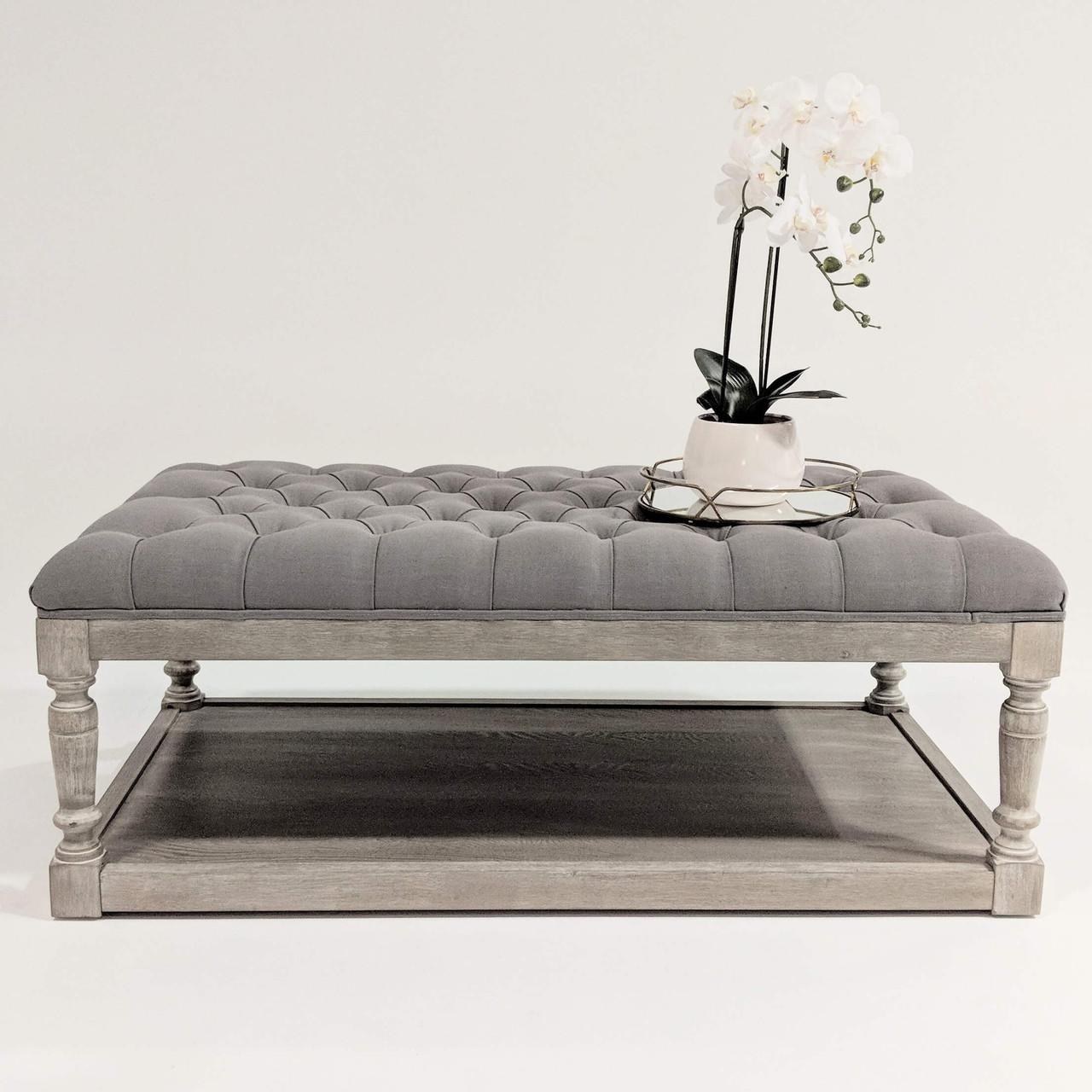 - Hamptons Oak Chesterfield Tufted Coffee Table Ottoman With Shelf