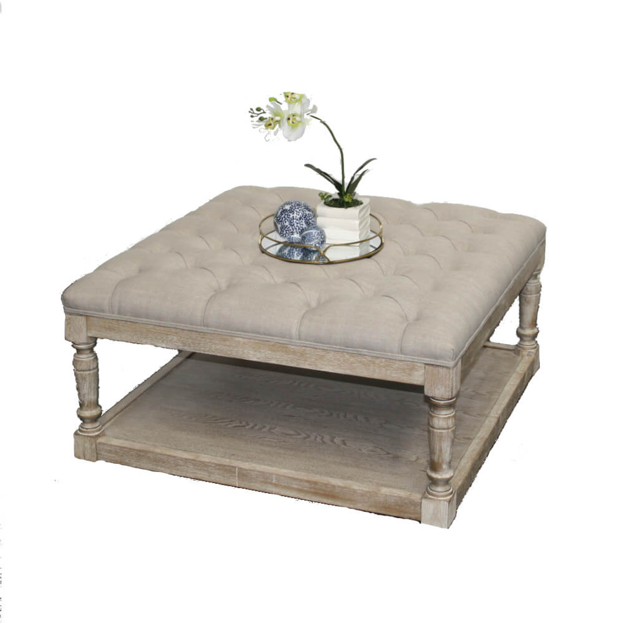 Tufted Ottoman Coffee Table Hamptons Button Chesterfield Whitewash