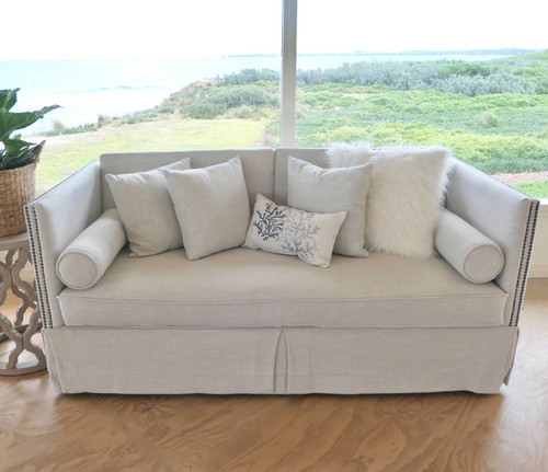 Excellent Hamptons Style French Provincial Sofa Couch Two Seater Oatmeal Cream Slip Cover Studs Gmtry Best Dining Table And Chair Ideas Images Gmtryco
