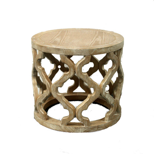 Low Round Wood Coffee Table.2 X Round Side Table Carved Oak Wood Coastal Quatrefoil Hamptons Low Portsea