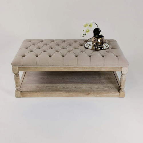 Tufted Ottoman Coffee Table Hamptons French Linen Button Chesterfield Whitewash Oak Rectangle Beige