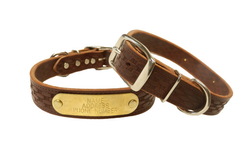 The Warner Brand basket weave leather dog collar front and rear view in brown.