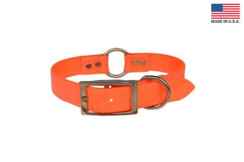 This is the front buckle of the Warner Brand Dayglo Center Ring orange dog collar.