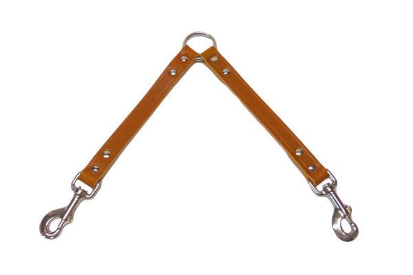 Tan leather dog collar coupler