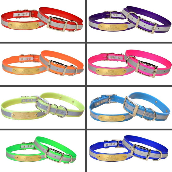 The Warner Brand reflective dog collars with engraved brass tags.