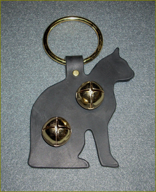 black leather cat hanging bell ornament