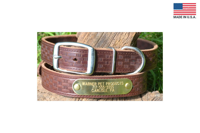 The Warner Brand basket weave leather dog collar comes with a fastened engraved brass ID tag.