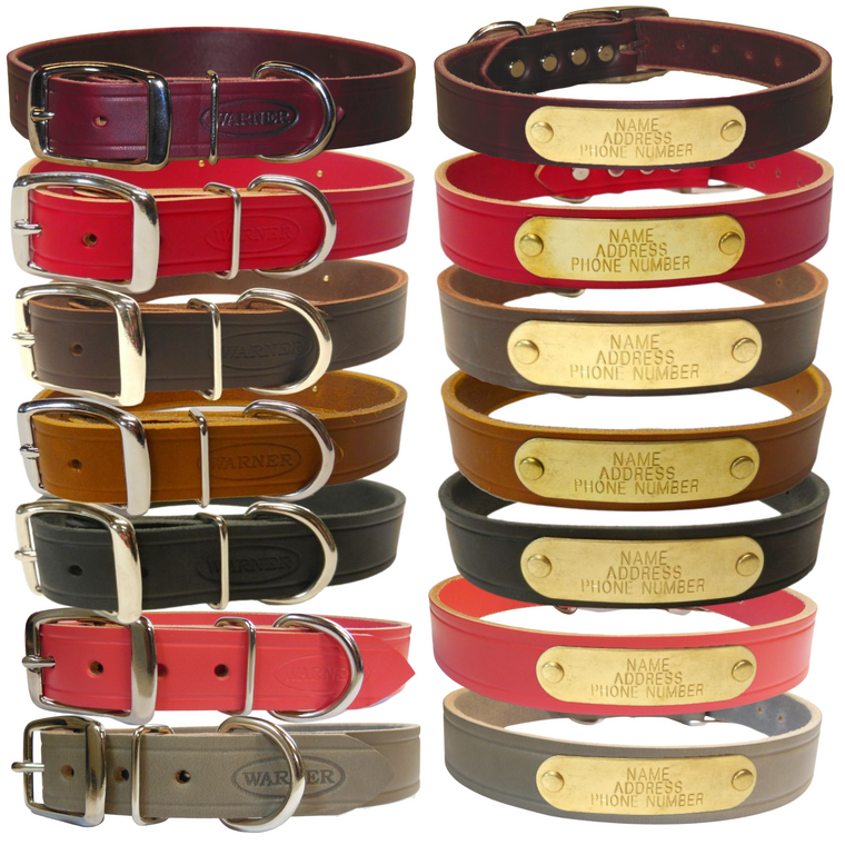Warner Cumberland custom leather dog collar picture of all colors: red, black, brown, burgundy, tan, pink, and gray.