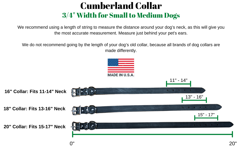 3/4 inch collar size chart