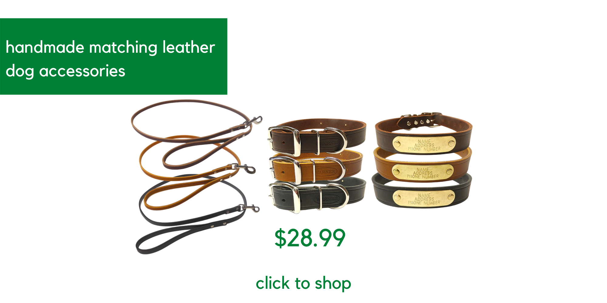 handmade leather dog accessories - click to see product page