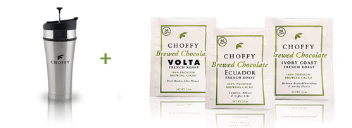 Choffy French Roast Starter Kit Brushed Steele