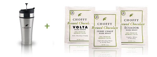 Choffy Dark Roast Starter Kit Brushed Steele