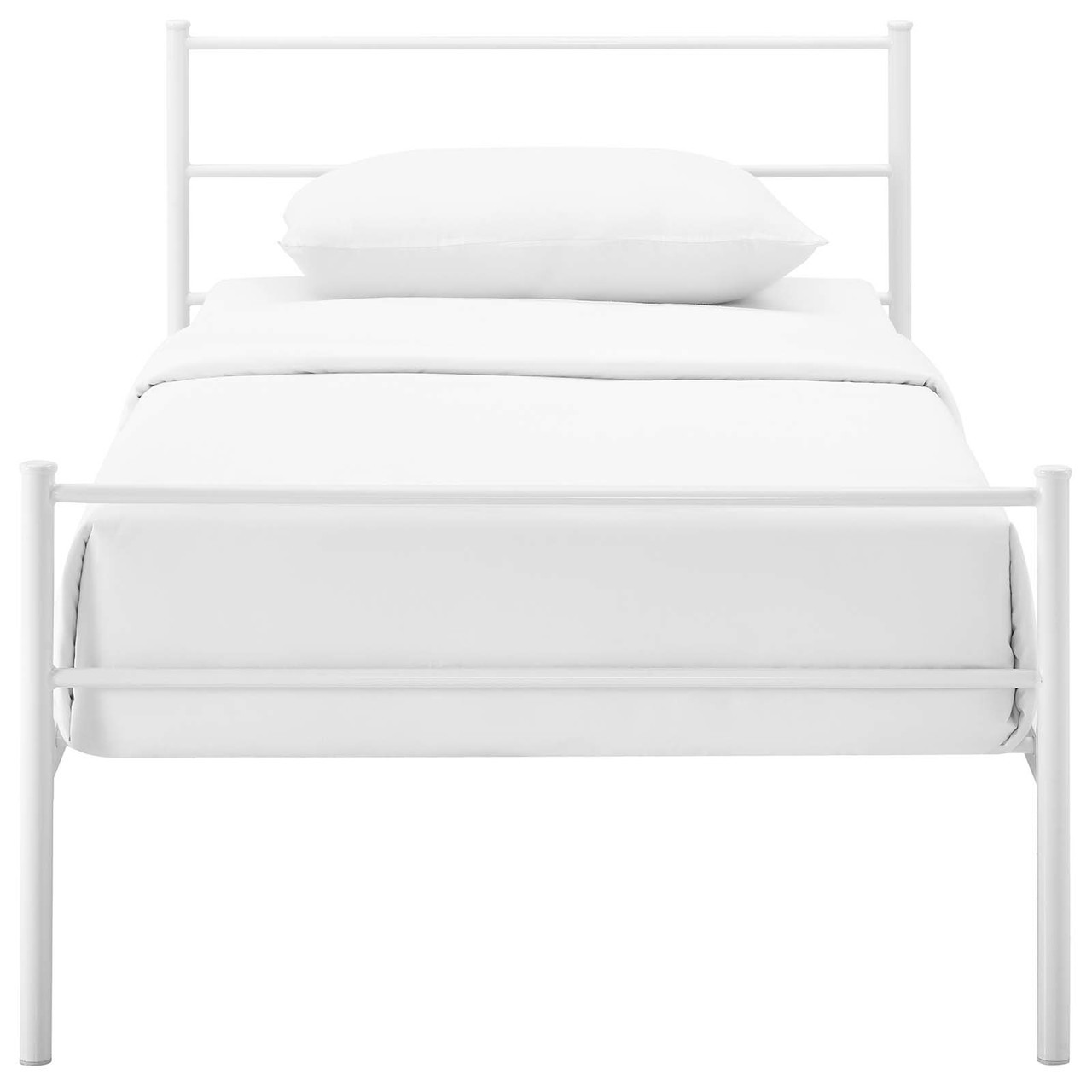 Alina Twin Platform Bed Frame Twin Size Metal Steel White 14435 House Bound
