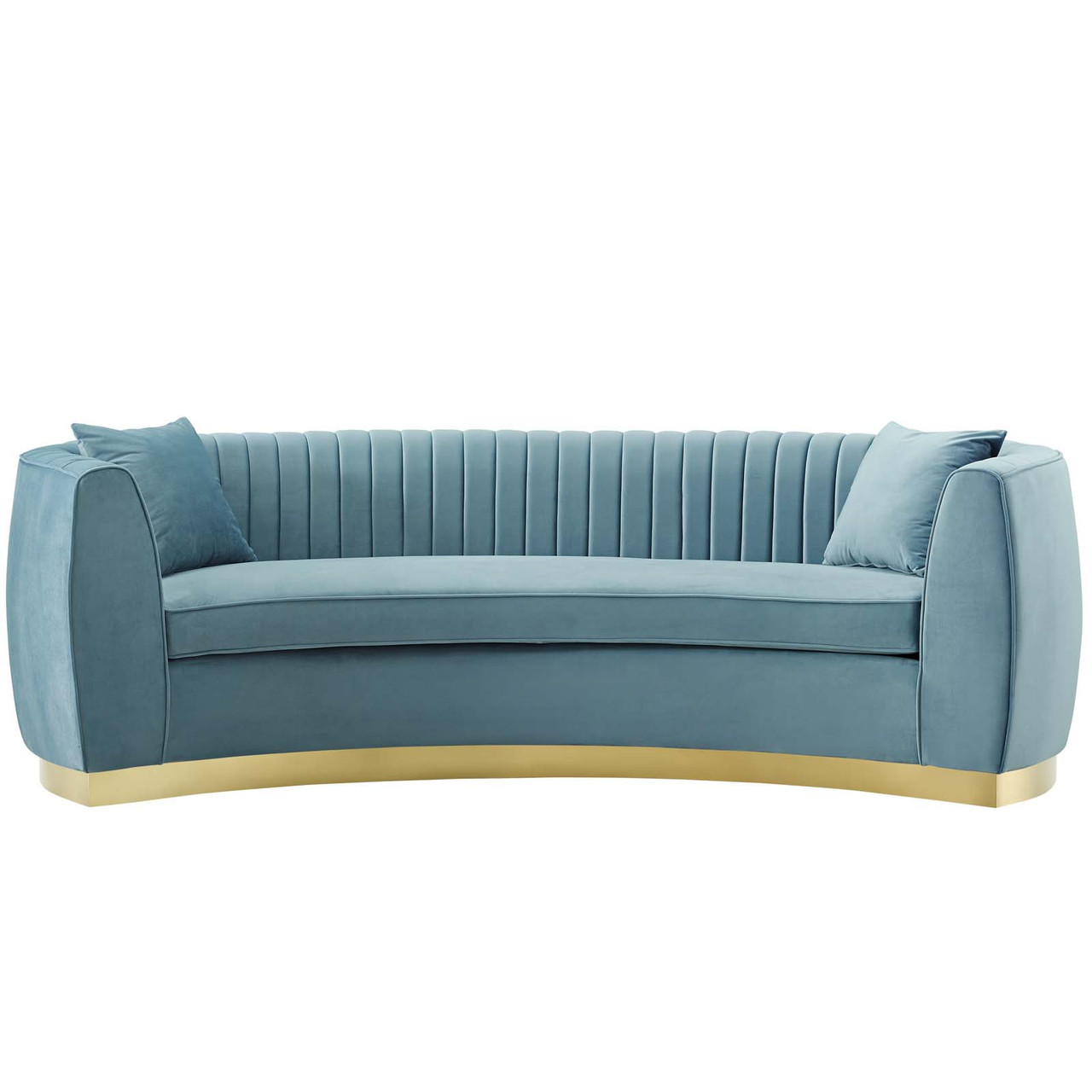 Picture of: Enthusiastic Vertical Channel Tufted Curved Performance Velvet Sofa Velvet Fabric Metal Steel Light Blue 17356 House Bound