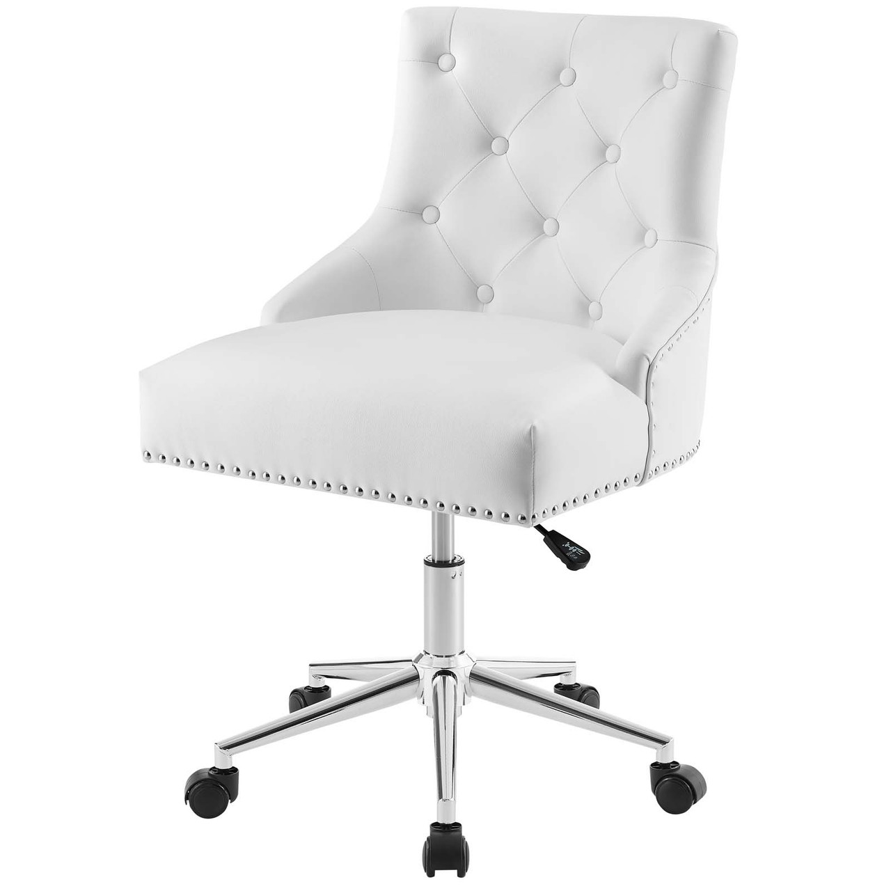 Regent Tufted Button Swivel Faux Leather Office Chair Faux Vinyl Leather Aluminum White 17859 House Bound