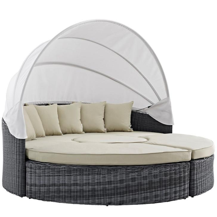 Summon Canopy Outdoor Patio Sunbrella Daybed, Beige, Rattan 10016