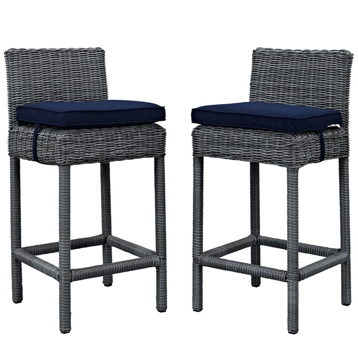Summon Bar Stool Chair ( Set of Two), Navy, Rattan 10592