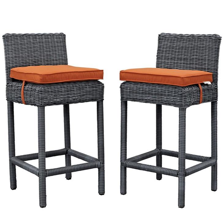 Summon Bar Stool Chair ( Set of Two), Orange, Rattan 10593