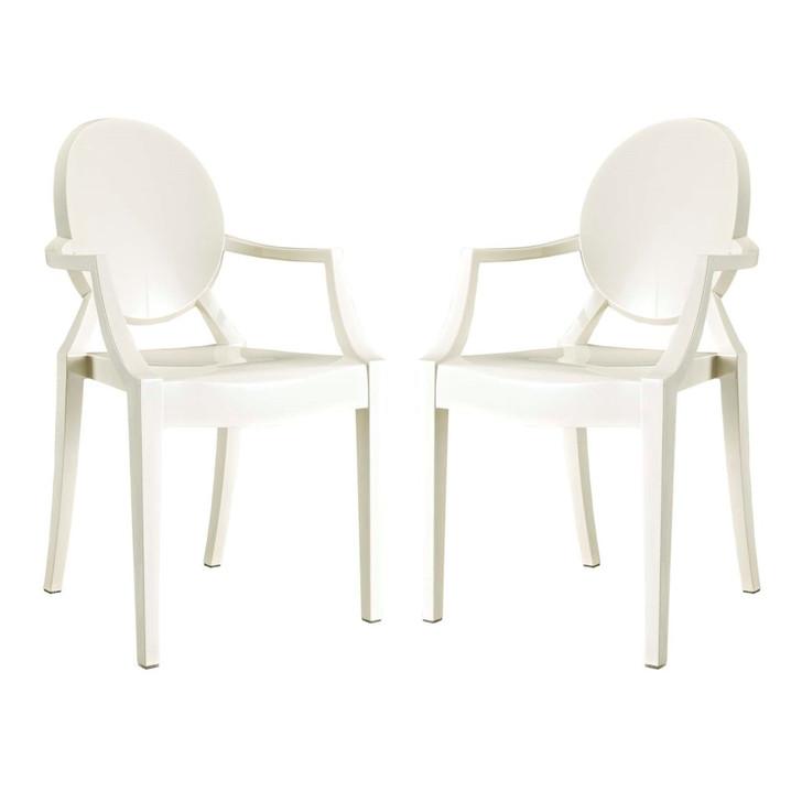 Casper Dining Armchairs Set of 2, White, Plastic 13064