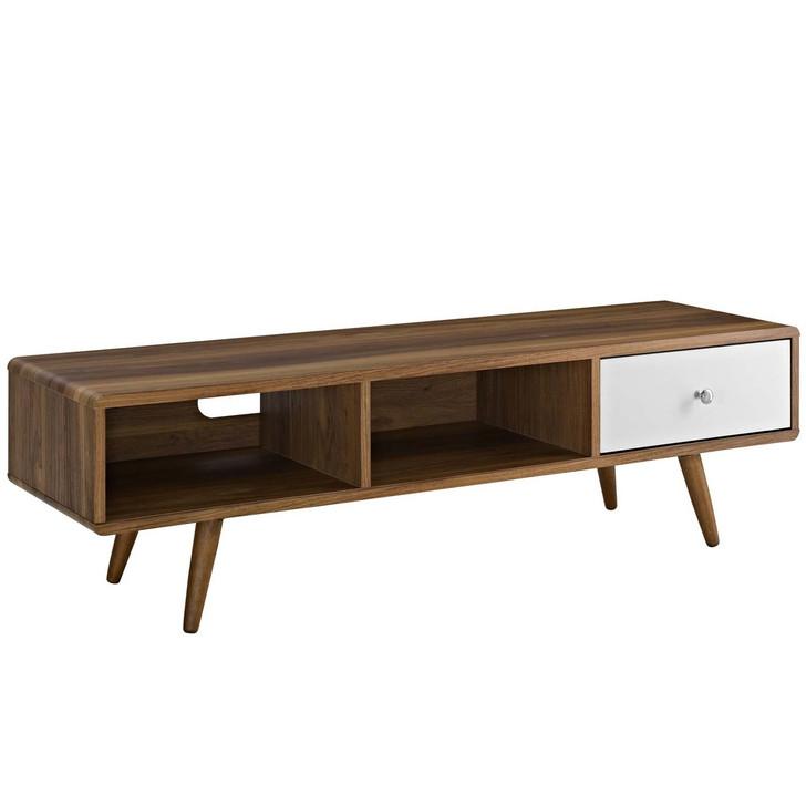 "Transmit 55"" TV Stand, Wood, Natural Brown White 13561"