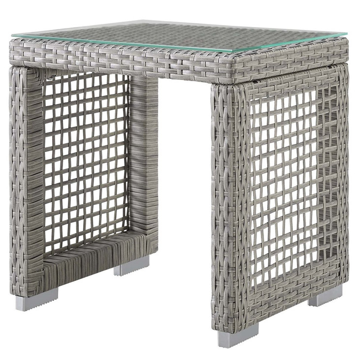Aura Outdoor Patio Wicker Rattan Side Table, Rattan, Wicker, Glass, Grey Gray 13872