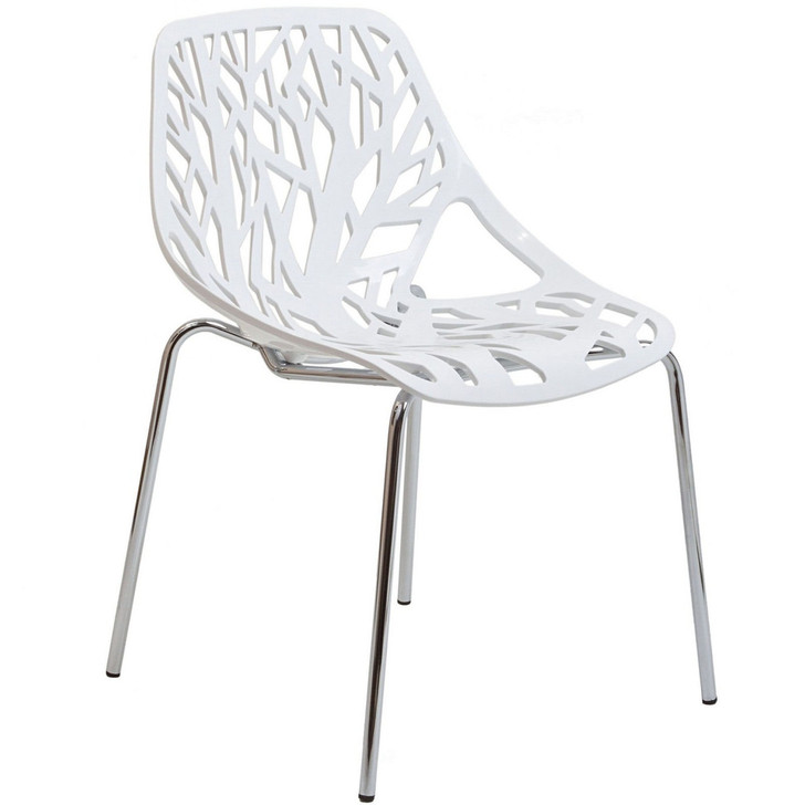 Stencil Dining Side Chair in White