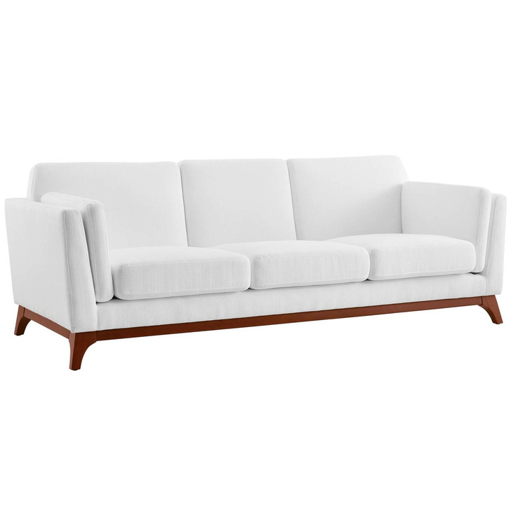 Chance Upholstered Fabric Sofa, Fabric, White 14118