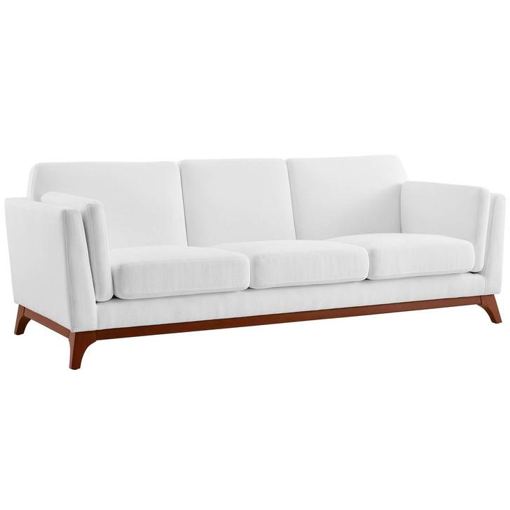 Chance Upholstered Fabric Sofa, Fabric, White 14118