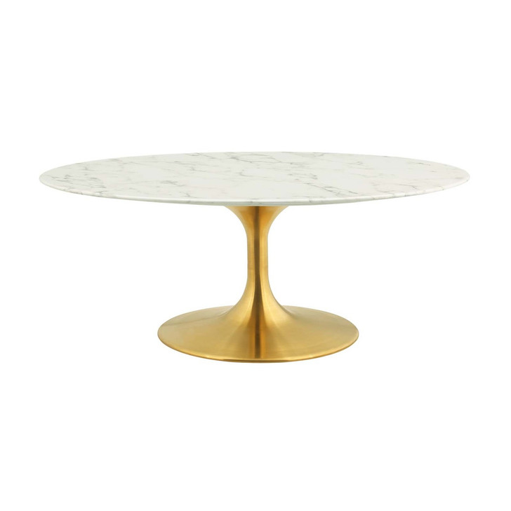 """Lippa 42"""" Oval-Shaped Coffee Table, Metal Steel Artificial Marble, Gold White 14263"""