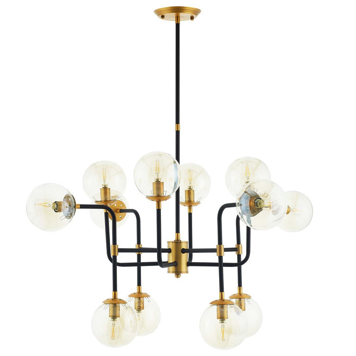 Ambition Amber Glass And Antique Brass 12 Light Pendant Chandelier, Metal Steel, Gold 15275