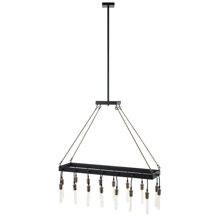Demarcate Modern Farmhouse Pendant Chandelier, Metal Steel, Black 15366