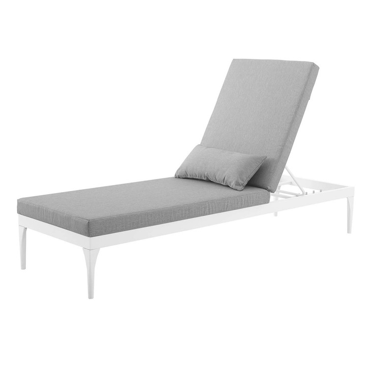 Perspective Cushion Outdoor Patio Chaise Lounge Chair, Fabric Aluminium, White Grey Gray 15372